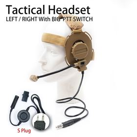 Picture of S plug Tactical Headset with Big PTT Switch for 2-Pin Icom